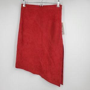 VAKKO SPORT red leather assymetrical skirt